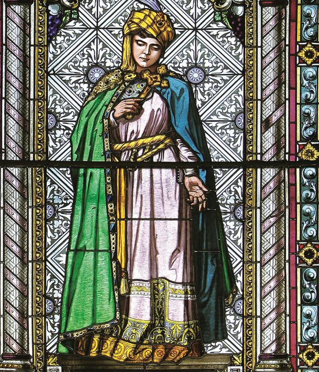 Princeza Olivera, vitraž Imre Želera (prema nacrtima Paje Jovanovića), Saborni hram Sv. Velikomučenika Georgija, Novi Sad, 1902.