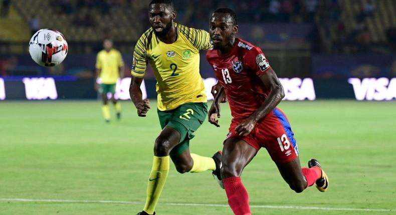 Mamelodi Sundowns star  Peter Shalulile (R) playing for Namibia against South Africa at the 2019 Africa Cup of Nations in Egypt Creator: JAVIER SORIANO