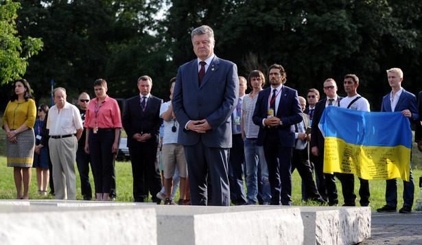 Prezydent Ukrainy Petro Poroszenko złożył kwiaty przed Pomnikiem Rzezi Wołyńskiej w Warszawie