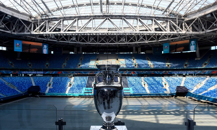 The UEFA Euro 2020 trophy is pictured during a boat tour in Saint Petersburg