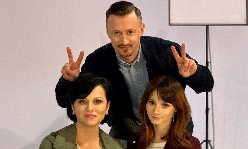 Adam Małysz z żoną i córką.