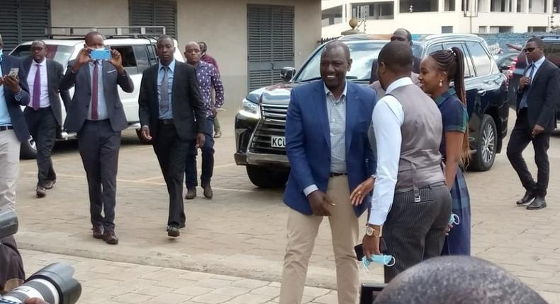 Deputy President William Ruto rushes to Jubilee HQ minutes  minutes after Raphael Tuju's surprise announcement on Msambweni by-election