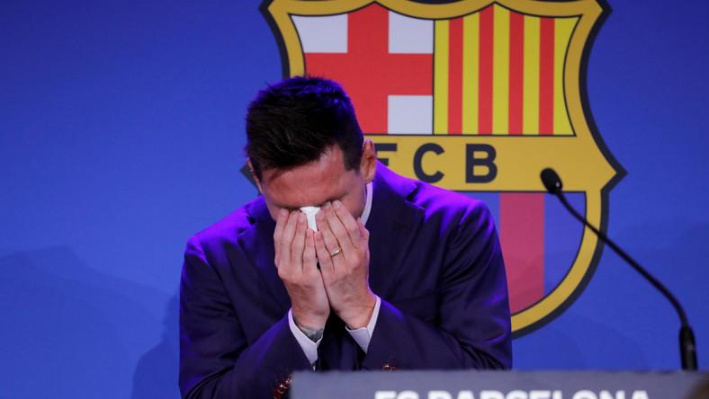 Leo Messi podczas pożegnalnej konferencji prasowej