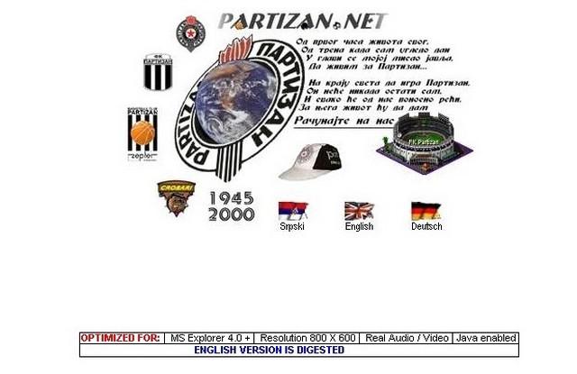 Prva redizajnirana naslovna stranica Partizan.net-a