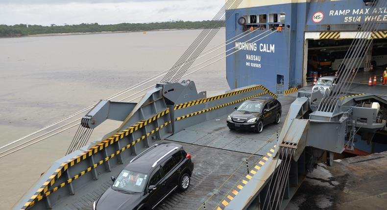 A car carrier discharging imported motor vehicles at the Port of Mombasa.