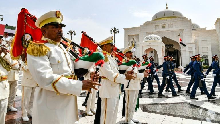 A military band performs at a welcome ceremony for Pope Francis at the UAE's presidential palace in Abu Dhabi on February 4, 2019