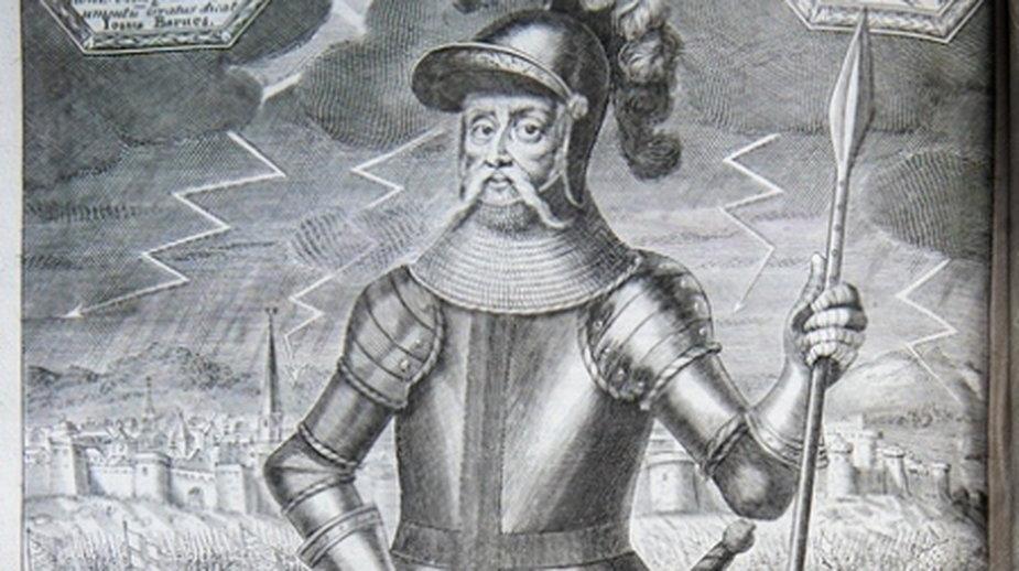 """Edward III, w tle widać grzmoty, które zmieniły bieg historii (""""The History of that Most Victorious Monarch Edward III"""" Joshuy Barnesa)"""