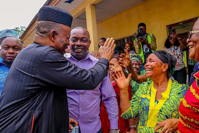 Godswill Akpabio at his polling unit during the 2019 election (NAN)