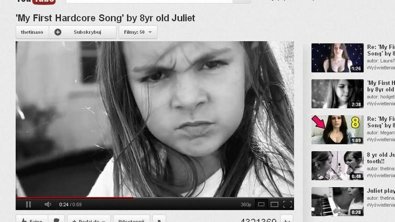 Ośmioletnia Juliet w swej pierwszej hardkorowej piosence