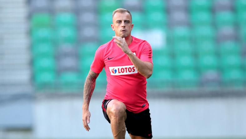 Pomocnik piłkarskiej reprezentacji Polski Kamil Grosicki podczas treningu kadry na stadionie Stožice w Lublanie