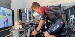 Polski kolarz wziął udział w domowym wyścigu. Kwiato cierpiał wirtualnie