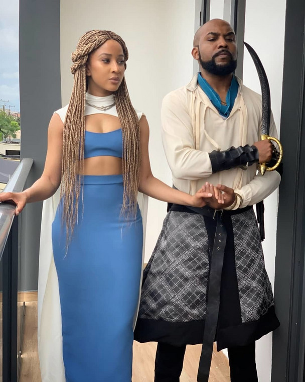Banky W and Adesua Etomi at IK Osakioduwa's 'GOT' themed birthday party [Instagram/BankyWellington]