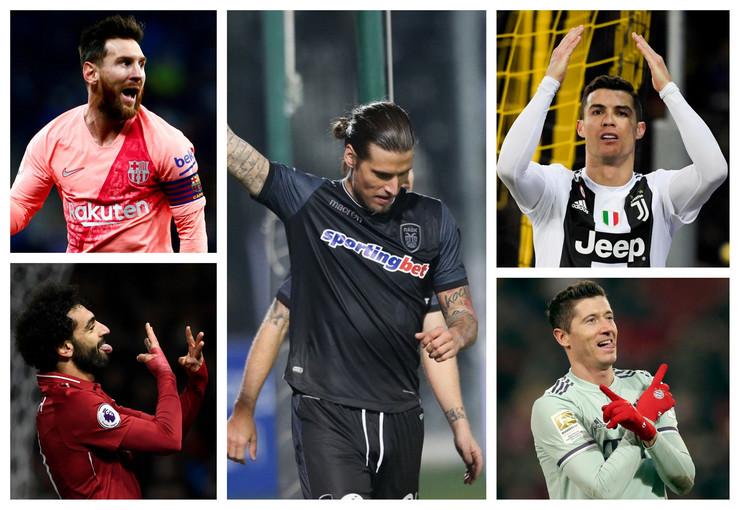 Aleksandar Prijović, Lionel Mesi, Robert Levandovski, Kristijano Ronaldo, Mohamed Salah
