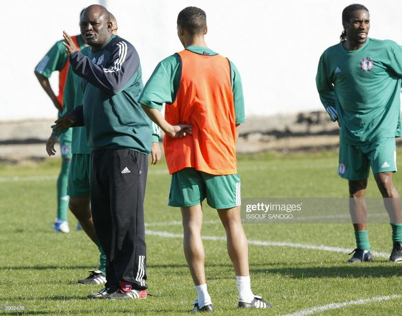 Christian Chukwu also coached the Super Eagles and led them to the AFCON tournament in 2004.  (ISSOUF SANOGO/AFP/Getty Images)