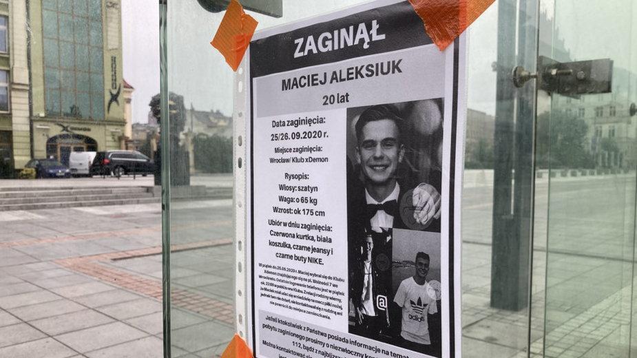 Maciej Aleksiuk przed zaginięciem został pobity