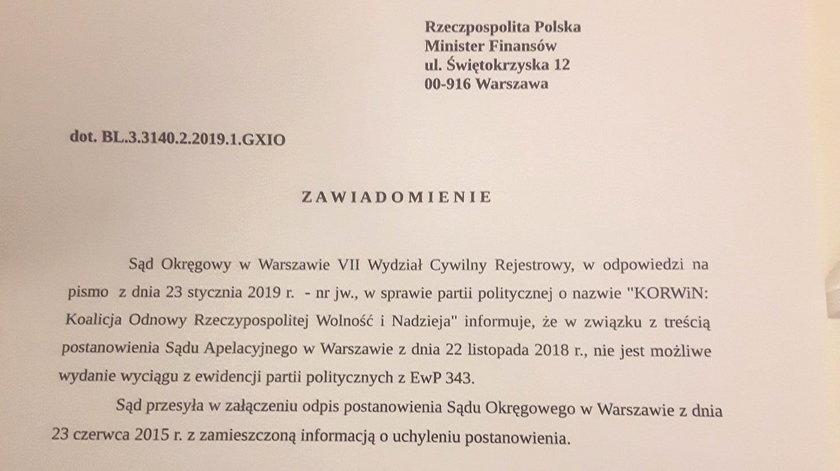 Ministerstwo zablokowało subwencję