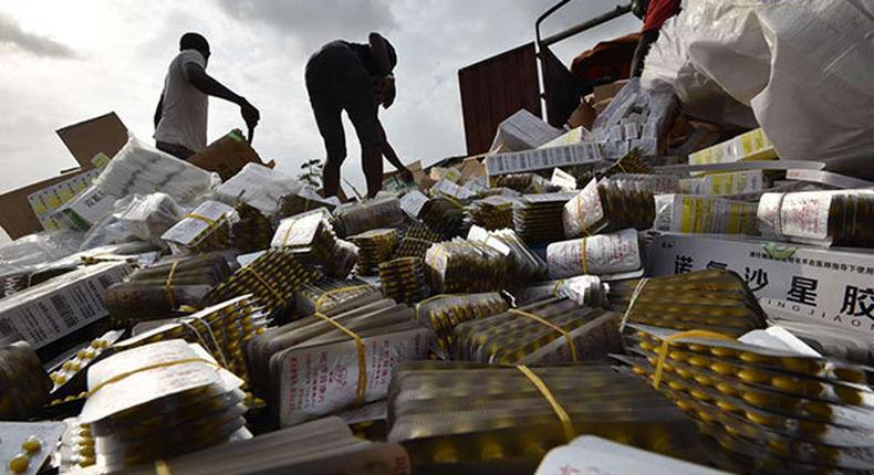 File Image: People unloading boxes of counterfeit drugs from a truck (Twitter)