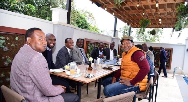 The late Machakos Senator Boniface Kabaka with fellow senators