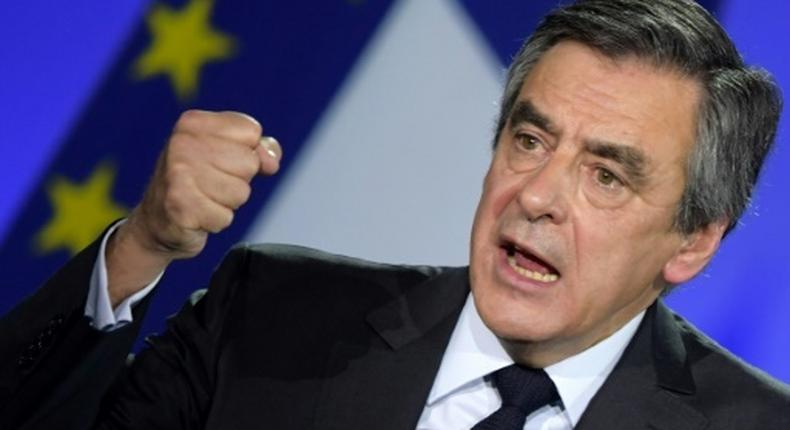 French presidential candidate Francois Fillon speaks during a campaign rally in Paris on January 29, 2017