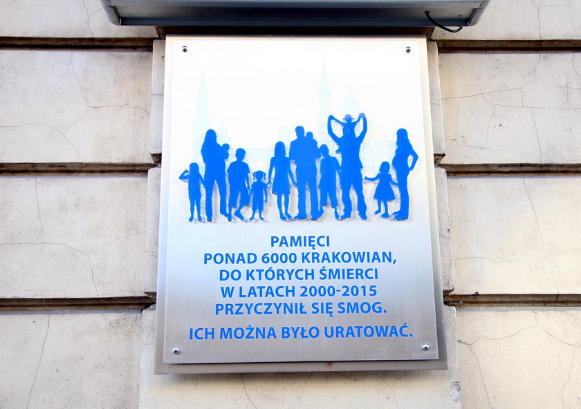 Tablica ofiar smogu w Krakowie