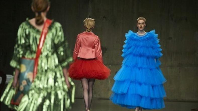Models present creations by British designer Molly Goddard during London Fashion Week