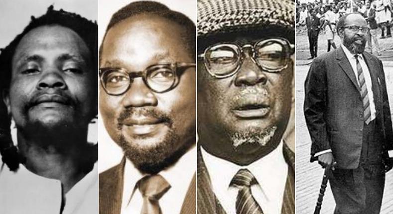 Kenyan freedom fighters (R to L): Dedan Kimathi, Masinde Muliro, Jaramogi Oginga Odinga and Bildad Kaggia