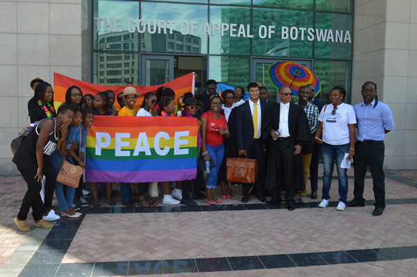 Members of LGBTI outside Court of Appeals of Botswana. (Washington Blade)
