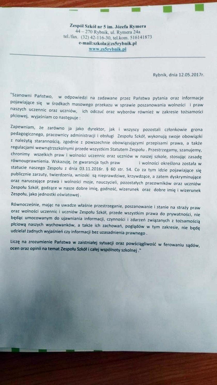 Awantura w Zespole Szkół nr. 5 im. Józefa Rymera w Rybniku