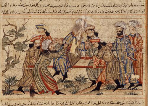 Zabójstwo Nizama al-Mulka na obrazie nieznanego autora