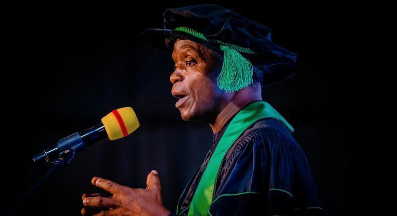 Vice President Yemi Osinbajo SAN attends the Nigerian University of Technology and Management's Founding Class of 2021 Scholars Graduation Program in Lagos, Nigeria. 18th Sept, 2021. Photos; Tolani Alli