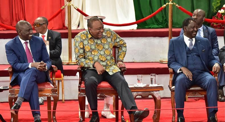 DP William Ruto, President Uhuru Kenyatta and Raila Odinga at Bomas of Kenya durig the presentation of the BBI report