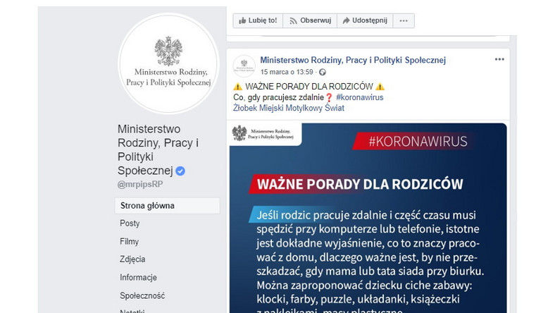 Widok postu zamieszczonego na Facebooku na profilu Ministerstwa Rodziny, Pracy i Polityki Społecznej
