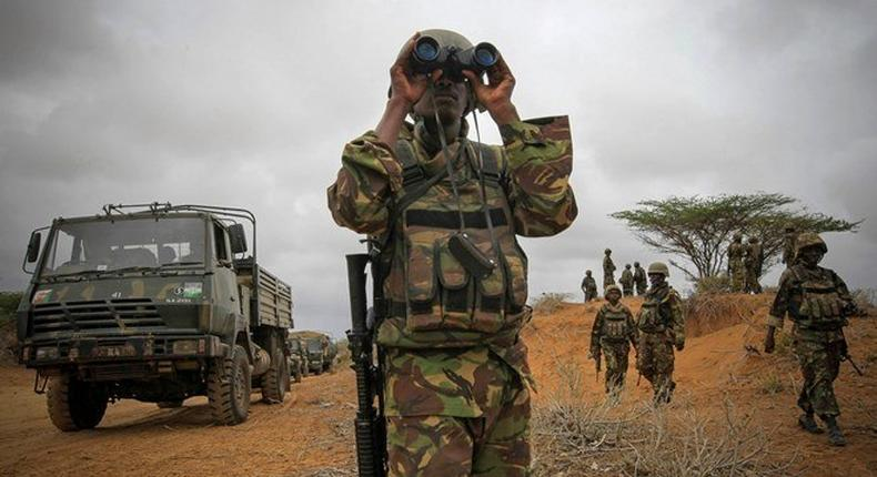 A file photo of KDF soldier on a mission