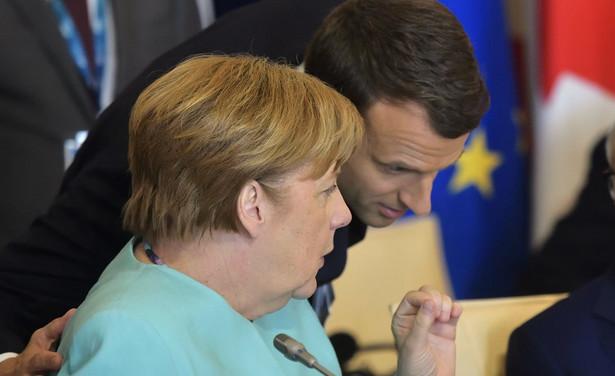 Francja i Niemcy skutecznie walczą o swoje interesy w instytucjach UE. Na zdjęciu prezydent Emmanuel Macron, przewodniczący Komisji Europejskiej Jean-Claude Juncker i kanclerz Angela Merkel