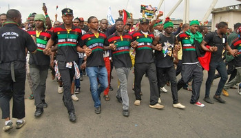 Supporters of the Indigenous People of Biafra (IPOB) march in Port Harcourt on January 20, 2017 in support of the US president-elect