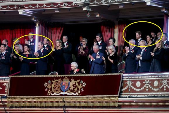 Vilijam i Kejt su sedeli u istom redu kao kraljica, a Hari i Megan u redu iza i to na drugom kraju kraljevske lože