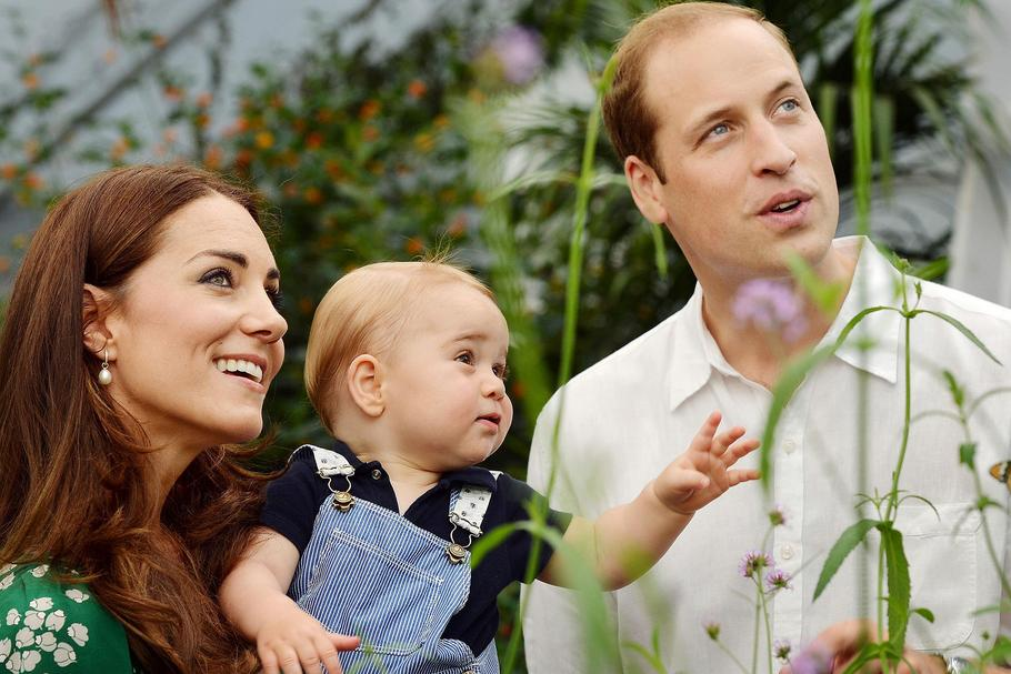 William i Kate Windsorowie z synkiem Georgem