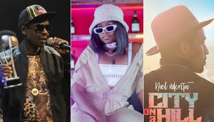 P-Unit's Frasha, rapper Xtatic and the album cover for Noel Nderitu's City on a Hill