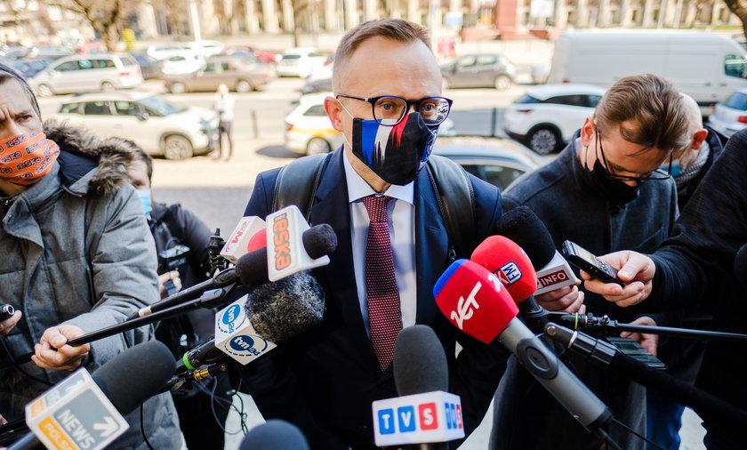 Artur Soboń (44l.) wiceminister Aktywów Państwowych oraz minister od górnictwa przed spotkaniem ze związkowcami w Katowicach.