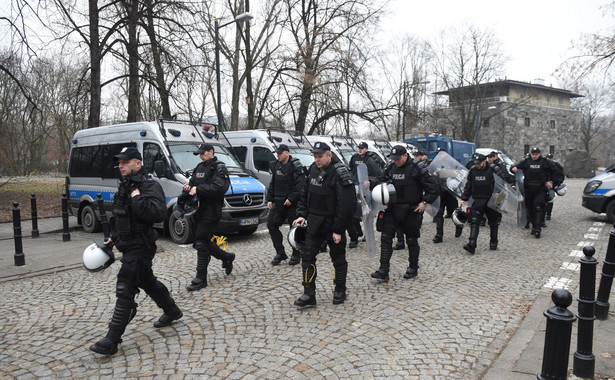 Policja w Warszawie w dniu demonstracji