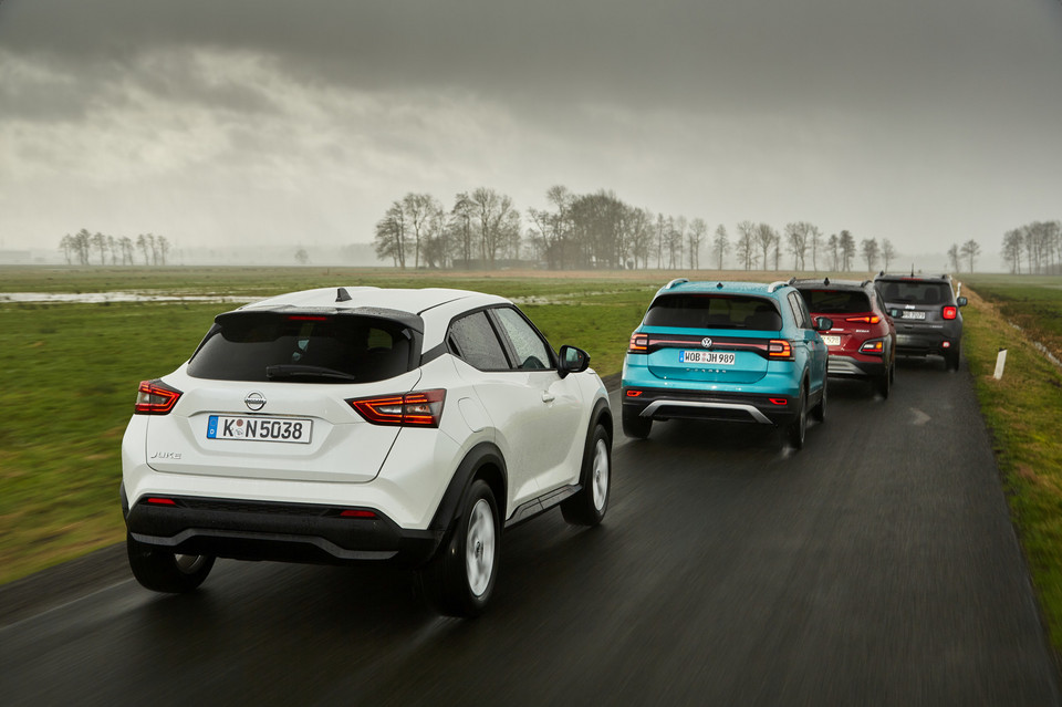 Nissan Juke, VW T-Cross, Hyundai Kona, Jeep Renegade