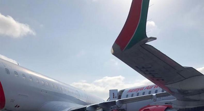 Two embrear planes belonging to Kenya Airways that collided Jomo Kenyatta International Airport in Nairobi
