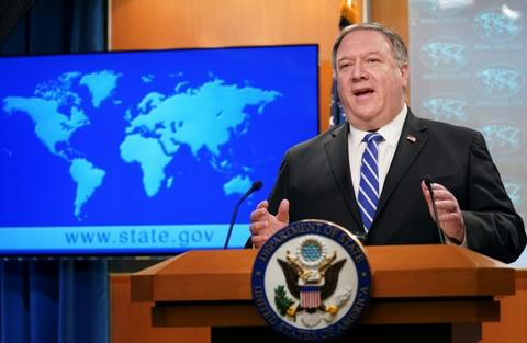 US Secretary of State Mike Pompeo renews his attacks on China at a news conference