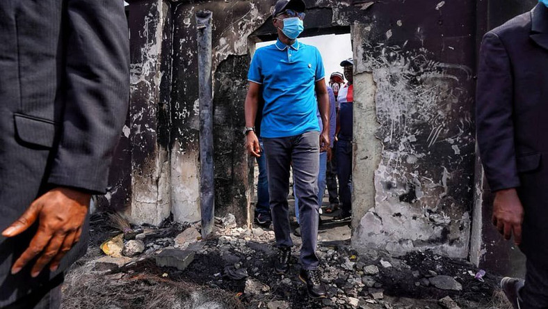 Lagos Governor Babajide Sanwo-Olu inspects the damage to his city after hoodlums hijacked EndSARS protests this week (Jubril Gawat)