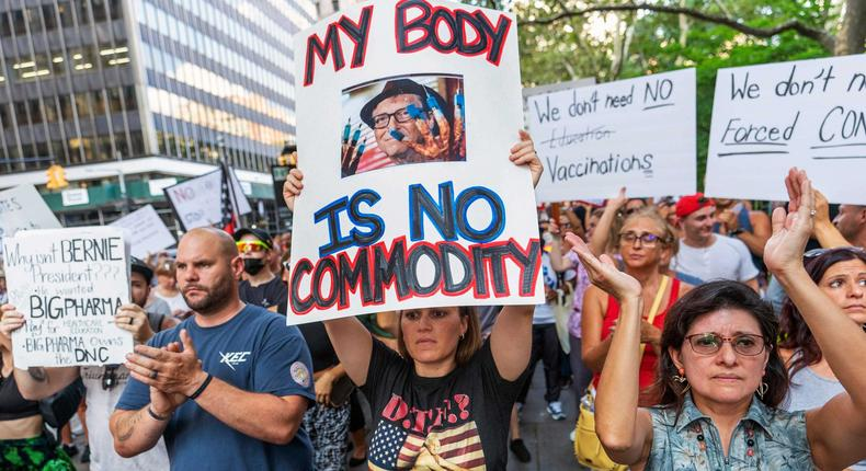 Protesters rally at a demonstration against COVID-19 vaccination mandates, Wednesday, Aug. 25, 2021, in New York.