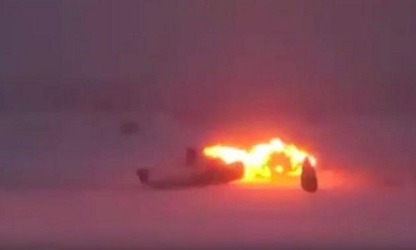 Tupolew rozbił się na lotnisku. Przerażające nagranie