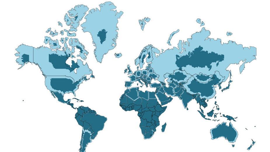 Ruchoma mapa pokazuje prawdziwe rozmiary krajów. Polska jest na niej mniejsza