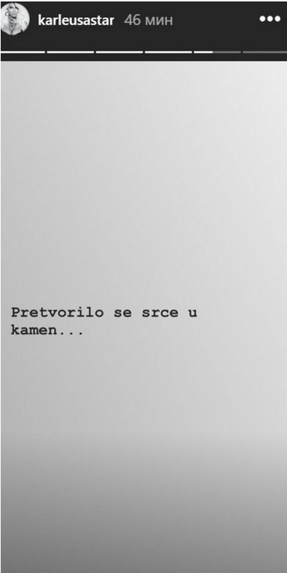 Jelena Karleuša, objava na Instagramu