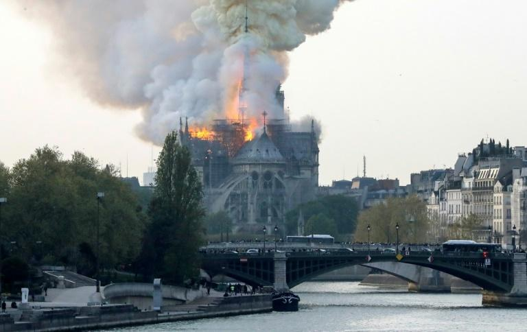 A spokesman for the cathedral told AFP that the wooden structure supporting the roof was being gutted by the blaze.