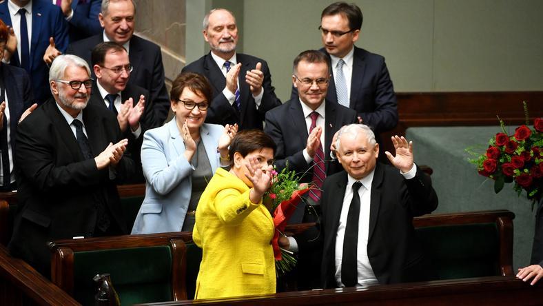 Beata Szydło i Jarosław Kaczyński podczas dzisiejszego posiedzenia Sejmu